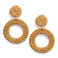 PHALIN Rattan Earrings Handmade Wicker Braid Drop Earrings Boho Lightweight Weave Straw Hoop Dangle Earrings Statement Earring for Women Girls