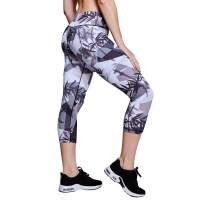Matymats Women's Workout Pants Printed Yoga Pants High Waist Yoga Capris Leggings with Pockets