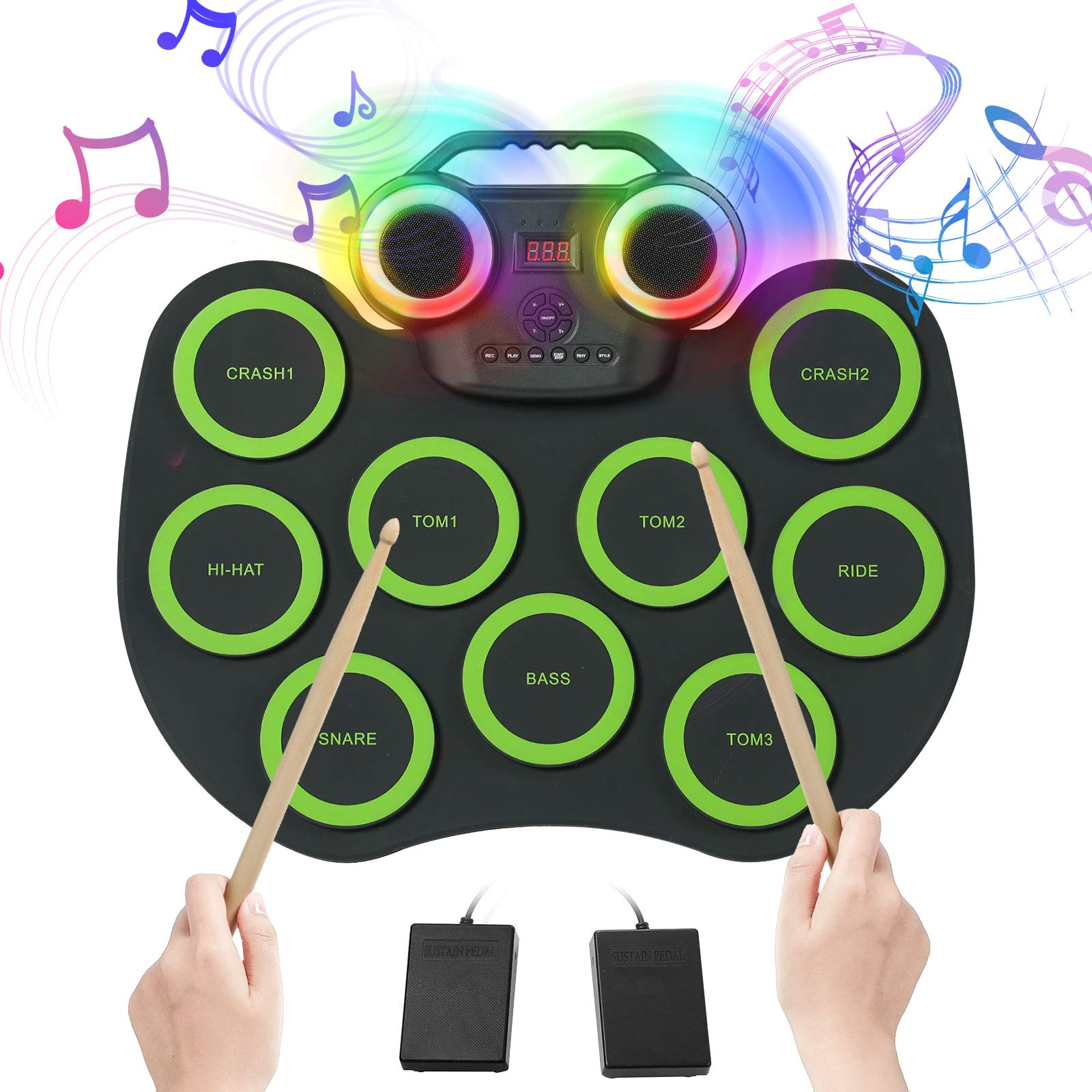 Electronic Drum Pads for kids, 9 Pads Roll-up Electronic Drum Set with Colorful Lights for 8h Playing with Built-in Speaker, Wooden Drum Sticks, 2 Pedals, Rechargeable Drum Kit