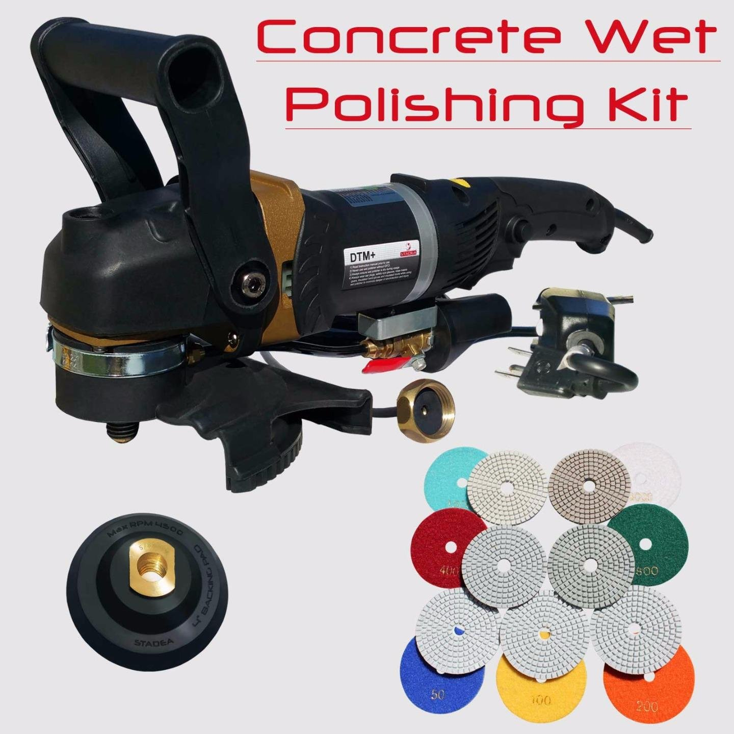 Stadea Wet Concrete Polisher Grinder Kit with Concrete Diamond Polishing Pads - Wet Polisher Variable Speed for Wet Dry Polishing