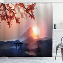 """Ambesonne Asian Shower Curtain, Majestic Himalayas Peaks Tops Silhouette of Sun Life Circle Culture Artwork, Cloth Fabric Bathroom Decor Set with Hooks, 84"""" Long Extra, Blue Pink"""