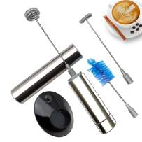 Battery Operated Electric Foam Maker Handheld Milk Frother with Double Spring Whisk Head Make the Cake, Cappuccino, Latte ortable Electric Durable Drink Mixer Mini Egg Beater (Battery Not Included) (5-silver)