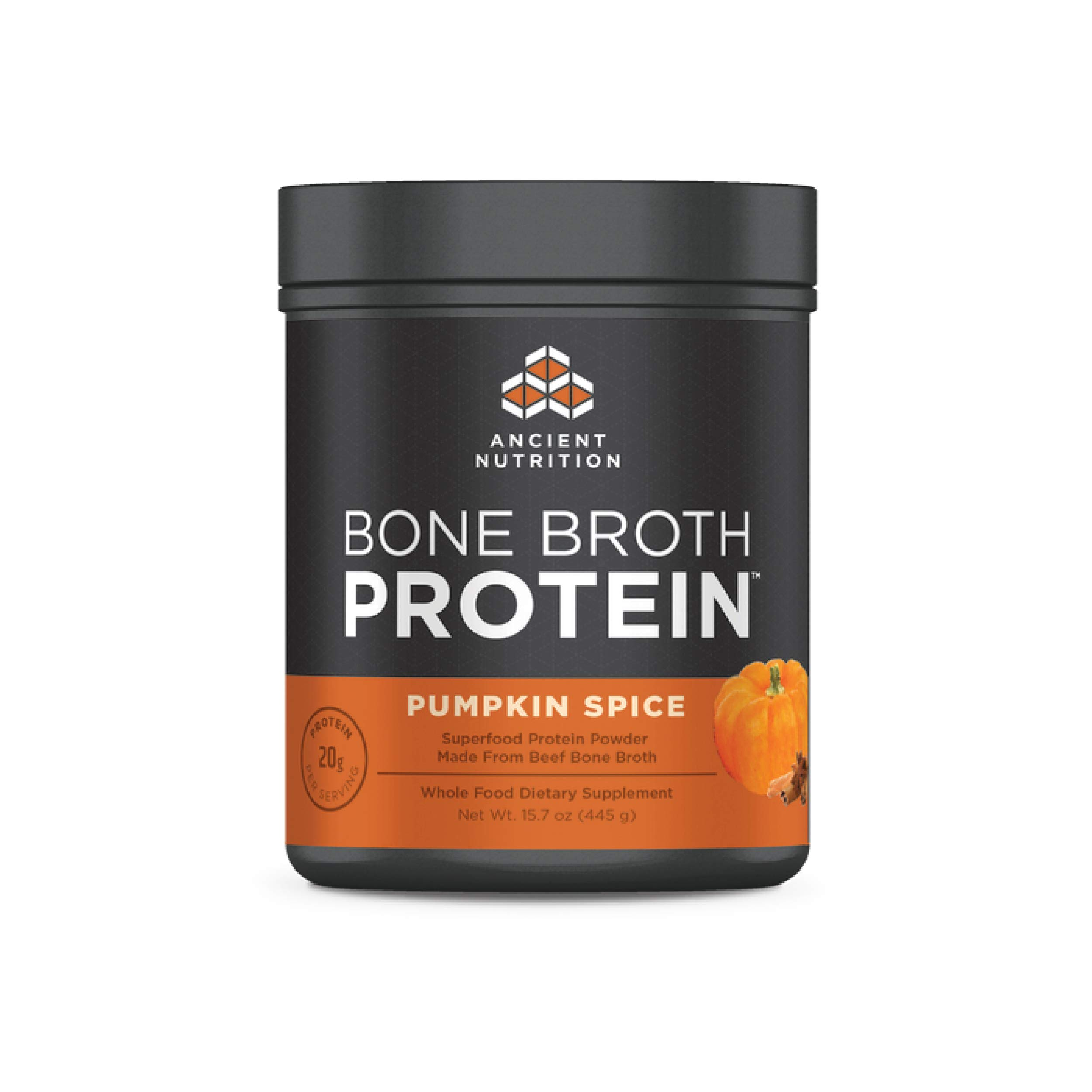 Ancient Nutrition Bone Broth Protein Powder, Pumpkin Spice Flavor, Made Without Dairy, Gluten or Soy, 20 Servings