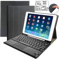"iPad Keyboard Case for iPad 10.2 7th Generation 2019, Eoso Detachable Keyboard Built-in Touchpad & Pencil Holder for iPad 10.2 Inch/iPad Air 3 10.5""(3rd Gen)/iPad Pro 10.5 inch(Black)"