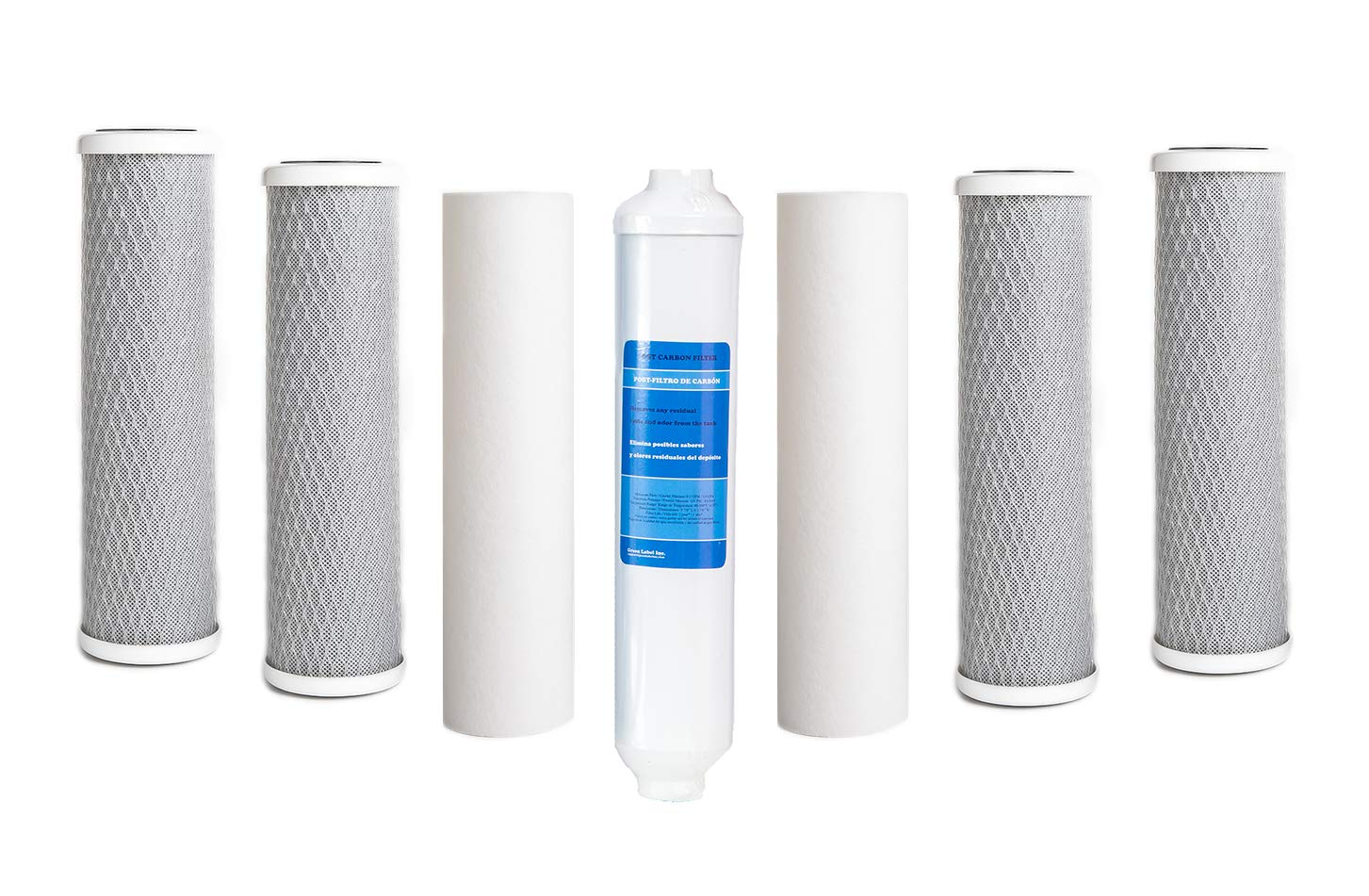 Green Label Universal 10 Inch Replacement Filter Set for Standard Multi-Stage Reverse Osmosis Water Filtration Systems: 2 PP Sediment, 4 CTO Carbon Block, 1 Polishing Filters (7 Filters)