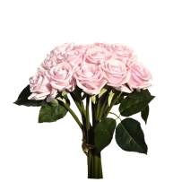 """Mandy's 12pcs Pink Artificial Silk Rose Real-Touch 14"""" Flowers for Home Decoration Bridal Wedding Bouquet and Parties"""