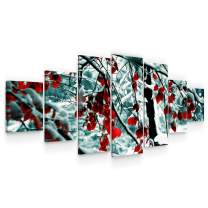 "Startonight Huge Canvas Wall Art - Red Leaves in Snow - USA Large Home Decor - Dual View Surprise Artwork Modern Framed Wall Art Set of 7 Panels Total 40"" x 95"""