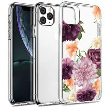 Spevert iPhone 11 Pro Case 5.8 inches, Flower Pattern Printed Clear Design Transparent Hard Back Case with TPU Bumper Cover for iPhone 11 Pro 5.8 inch 2019 Released - Purple Rose