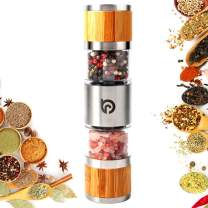 Salt and Pepper Grinder Mill Set - 2 in 1 Manual Wood Stainless Steel Sea Salt and Pepper Shakers Handheld with Adjustable Coarseness Ceramic Rotor and Dual Clear Acrylic Chamber