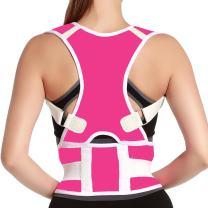 Back Posture Corrector Adjustable Clavicle Brace Correct Shoulder Posture Support Strap for Women Men Improve Posture Correction Size L Pink