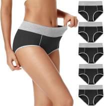 POKARLA Women's High Waist Cotton Underwear Soft Breathable Panties Stretch Briefs 5-Pack