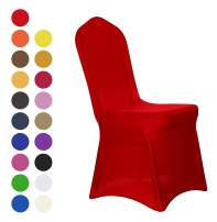 Obstal 10 PCS Red Spandex Dining Room Chair Covers for Living Room - Universal Stretch Chair Slipcovers Protector for Wedding, Banquet, and Party