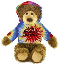 Plushland Adorable Frankie Bear 12 Inches, Stuffed Animal Personalized Gift - Great Present for Mothers Day Valentine Day Graduation Day Birthday Christmas - Custom Text on Hoodie  (Tie Dye)