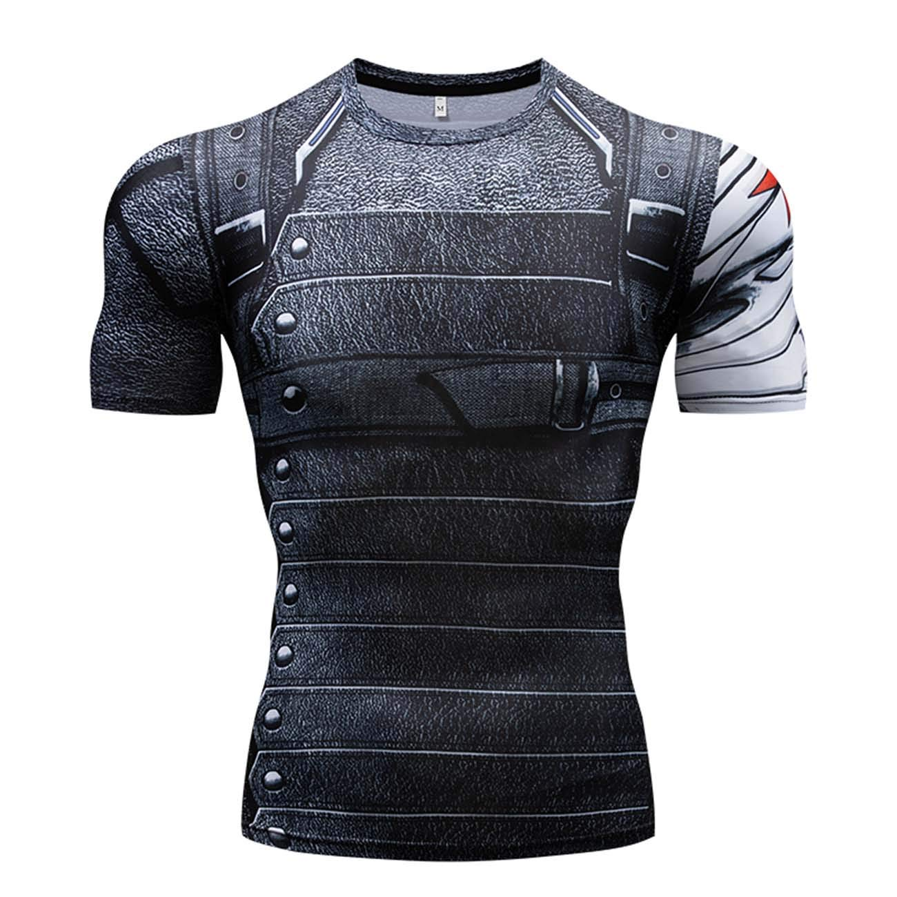 RONGANDHE Men's Super-Hero Compression Sports Fitness T-Shirt Quick-Drying Cool Running