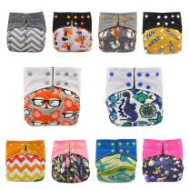 Baby Nappy Pocket Bamboo Charcoal Cloth AIO Diapers, Sewn in Insert Double Gussets by Ohbabyka (All)
