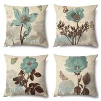 OTOSTAR Set of 4 Cotton Linen Pillow Covers Decorative Square Pillowcase Cushion Case 18x18 Inch for Home Decor Sofa Bedroom Car (Blue Flower, 18 x 18)