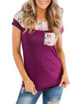 Aleumdr Women's Short Sleeve Crew Neck T Shirts Color Block Tops with Pocket S-XXL