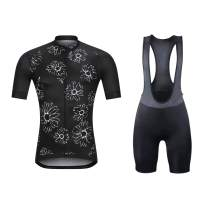 Men's Short Sleeves Cycling Jersey Full Zip Set Road Bike Bib Jersey Suit Cycle Shorts with 3D Padded