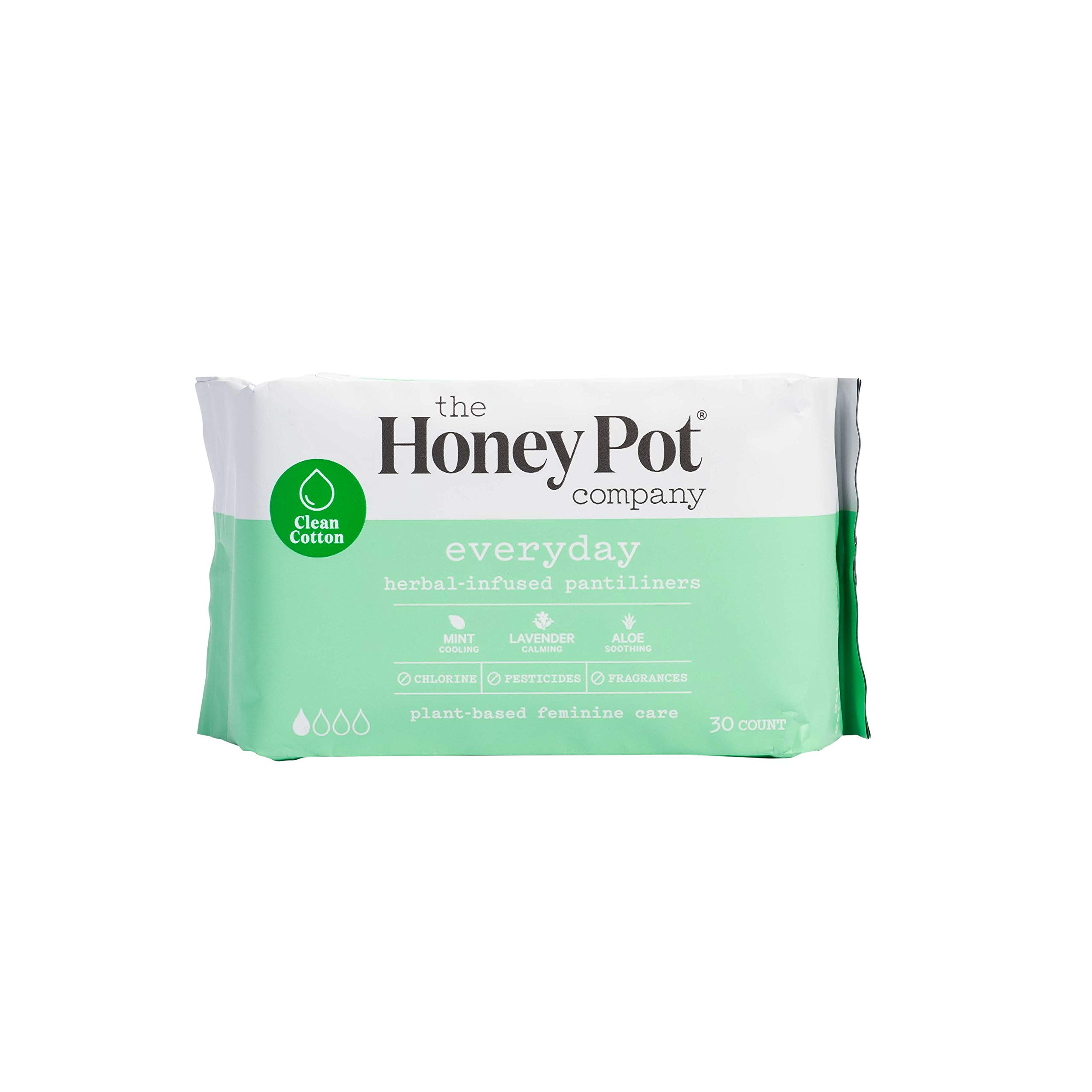 The Honey Pot Company Everyday Herbal-Infused Pantiliners | Natural Sanitary Napkin Liners | Plant-Based Feminine Care | Chlorine-, Pesticide-, Paraben-, Carcinogen-, Fragrance-Free | 30 Liner Count