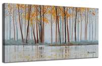 """Canvas Wall Art Birch Trees Branches Landscape Painting Watercolor Picture Poster Prints, Modern One Panel 40""""x20"""" Framed Large Size for Living Room Bedroom Home Office Décor"""