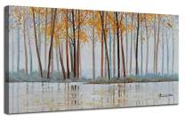 """Canvas Wall Art Birch Trees Branches Landscape Yellow Painting Watercolor Picture Poster Prints, Modern One Panel 48""""x24"""" Framed Large Size for Living Room Bedroom Home Office Décor"""