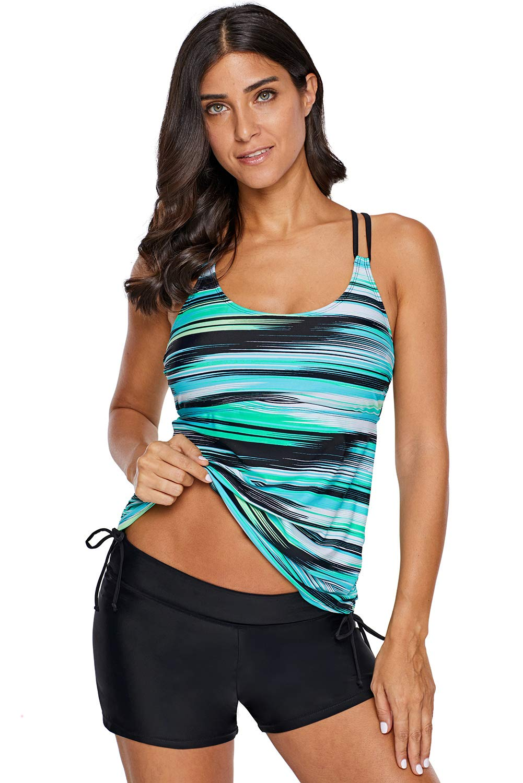 Cfanny Womens Tankini Swimsuits Zigzag Print Tops No Shorts