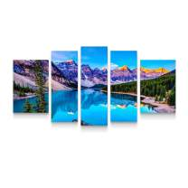 Startonight Canvas Wall Art Mountain Lake - Nature Framed Wall Art 36 by 71 Inches Set of 5