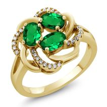 Gem Stone King 18K Yellow Gold Plated Silver Green Simulated Emerald Women Ring (1.57 Ct Oval, Available in Size 5,6,7,8,9)