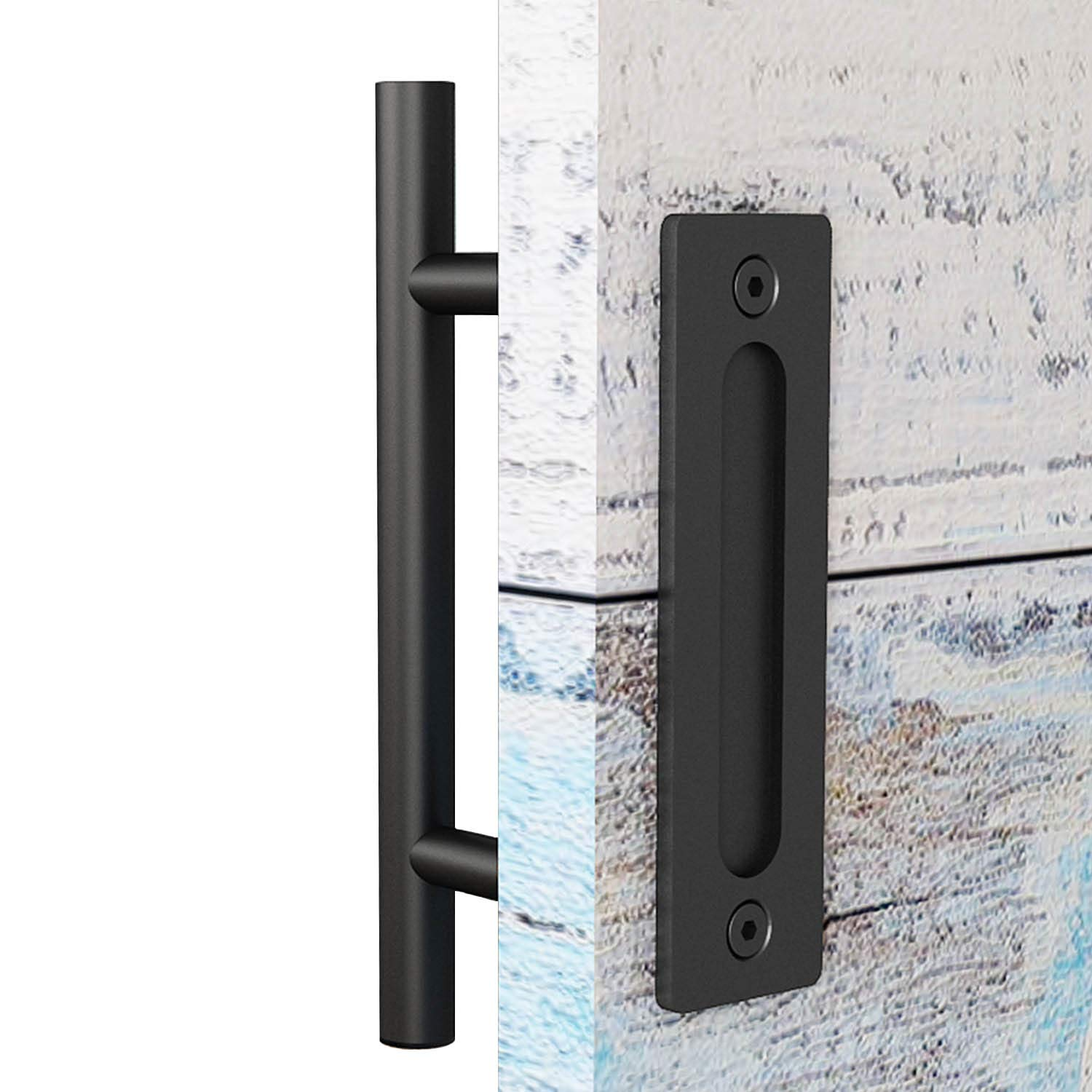 EaseLife 12 Inch Sliding Barn Door Handle with Flush Finger Pull,Ultra Sturdy,Black Powder Coated Finished,Round