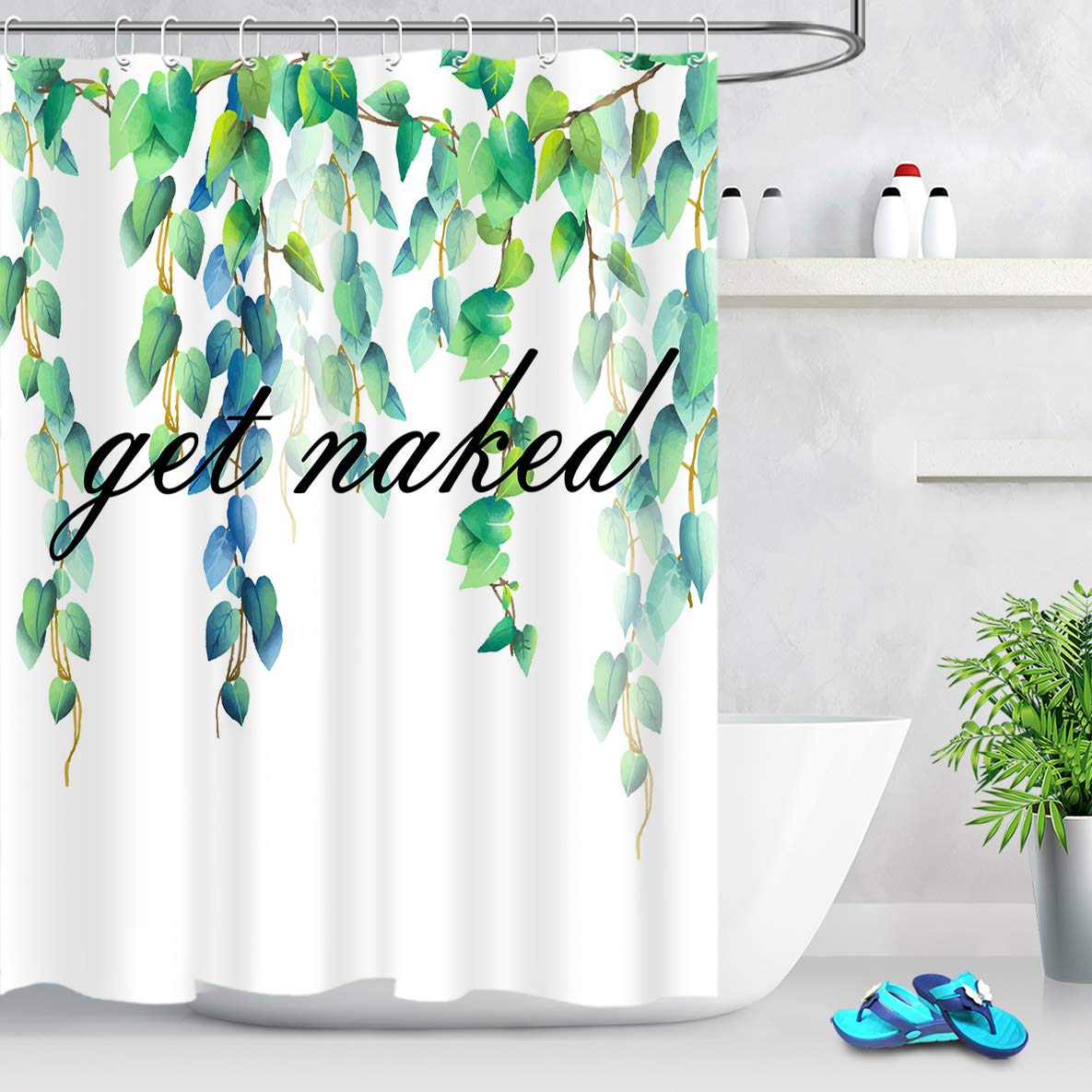 LB Watercolor Blue Green Leaves Shower Curtain with Creative Design Black Get Naked Shower Curtain White Background Funny Spring Bathroom Decor 60x72 Inch Waterproof Fabric with 10 Hooks