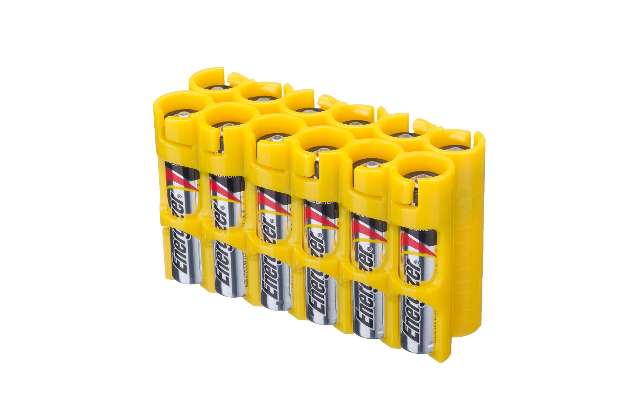 Storacell by Powerpax AAA Battery Caddy, Yellow, Holds 12 Batteries