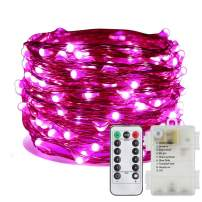 ER CHEN Battery Operated Fairy Lights, Waterproof 8 Modes 100 LED String Lights 33 ft Copper Wire Twinkle Firefly Lights with Remote Timer for Indoor Outdoor Decor (Pink)