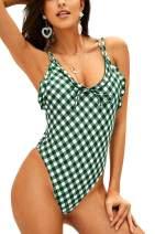 Hotvivid Women's Swimwear One Piece Swimsuit Fresh Plaid Beach Bathing Suit Bikini Sets
