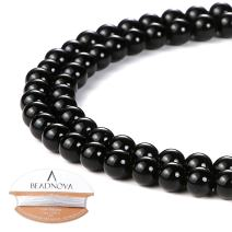 BEADNOVA 4mm Black Onyx Gemstone Round Loose Beads for Jewelry Making (94-96pcs)