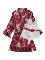 WDIRARA Women's 3 Pieces Lace Pajama Lingerie Set with Animal Print Satin Belted Robe