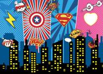 AIIKES 7x5FT Vinyl Photography Backdrop Superhero City Night Baby Children Birthday Party Photography Background Decoration Photocall for Photo Studio 11-394
