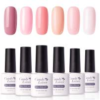 Candy Lover Popular Gel Nail Polish, Rose Peach Pastel Series UV LED 6 Colors Selected Set, Soak Off Nail Gel Polish Home Manicure Varnish Kit