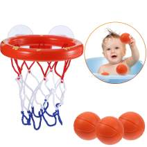 Jovitec Basketball Hoop and Balls Playset for Boys and Girls Bathtub Shooting Game Bath Toy for Kids and Toddlers Gift Set, Suctions Cups That Stick to Most Smooth Surface (3 Balls Included)