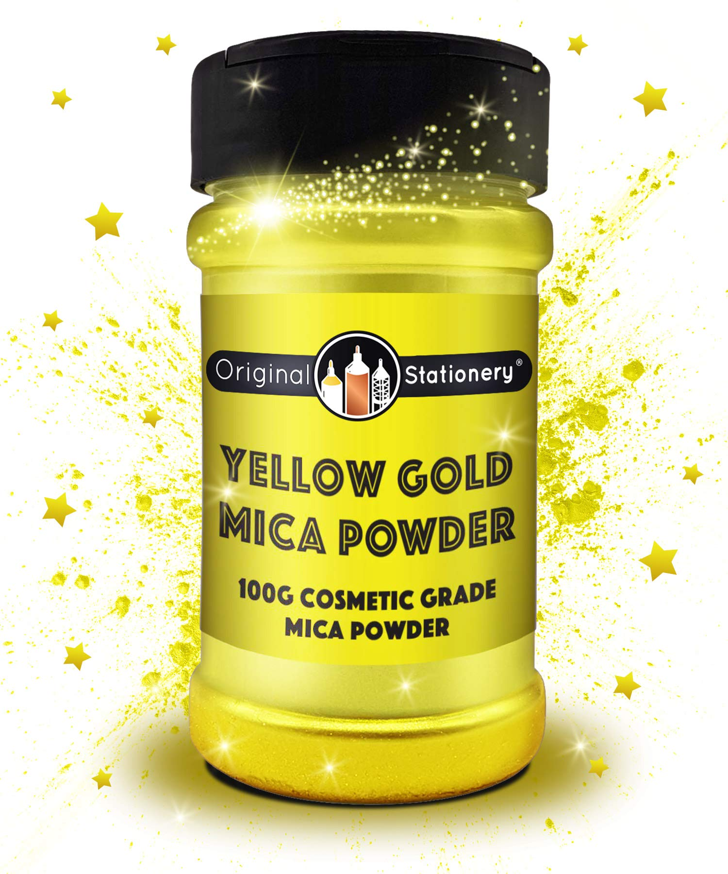 Mica Powder - 3.5 ounces / 100 grams [HUGE x3-5 THE SIZE OF OUR COMPETITORS] Cosmetic Grade – True Colors – Beautiful Mica for Slime, Soap Making, Bath Bombs,Make-up, Nails, Decor (Yellow Gold)
