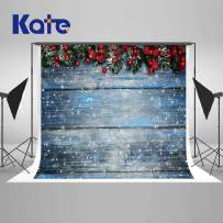 Kate 10×10ft Christmas Backdrops Fir Tree with Cones Xmas Background Snow on Wooden Blue Board Christmas Photo Backdrops Seamless Photo Studio Booth Props for Photography Seamless