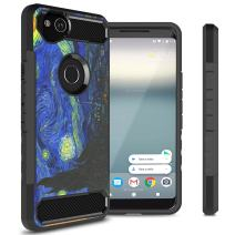 Google Pixel 2 Phone Case, CoverON Arc Series Modern Hybrid Phone Cover with Carbon Fiber Styling and Matte Finish for Pixel 2 - Starry Night