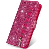 iPhone 11 Pro Wallet Case with Card Holder,Kudex Bling Glitter Sparkle Flip Leather Magnetic Closure Zipper Pocket Purse Wallet Case with Kickstand,Card Slot and Wrist Strap for iPhone 11 Pro