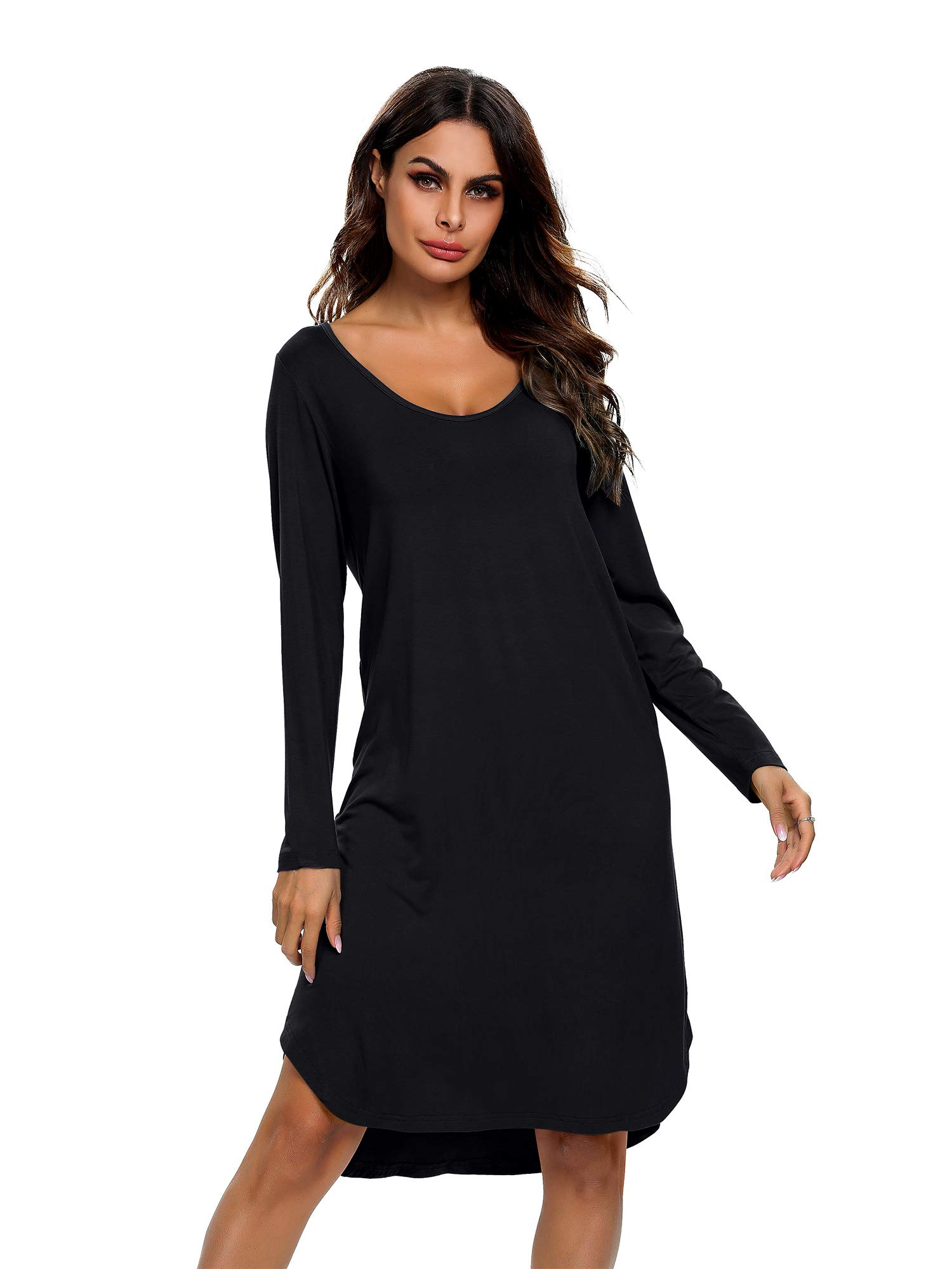 TIKTIK Long Sleeve Winter Nightgowns for Women Soft Long Sleep Shirts Sleepwear Plus Size S-4XL