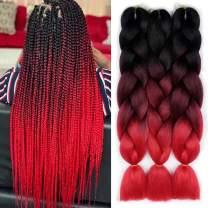 3 Pcs Ombre Braiding Hair Synthetic Hair Crochet Braids Jumbo Braids 100g Ombre Color Jumbo Braids 24inch Hair Extensions 3 Tones (Braiding Hair 3 Pcs, Black to BUG to Red)