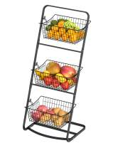 Fruit Basket, iSPECLE 3 Tier Fruit Basket Floor Stand with Removable Wire Basket, Market Basket Stand Organizer for Kitchen Room Save Space