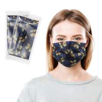 Printed Disposable Face Mask Individually Wrapped Masks 3 Layers Breathable Fashion Face Cover with Soft Elastic Ear Loops for Men Women Indoor Outdoor Activities, Yellow Butterfly 20 PCS
