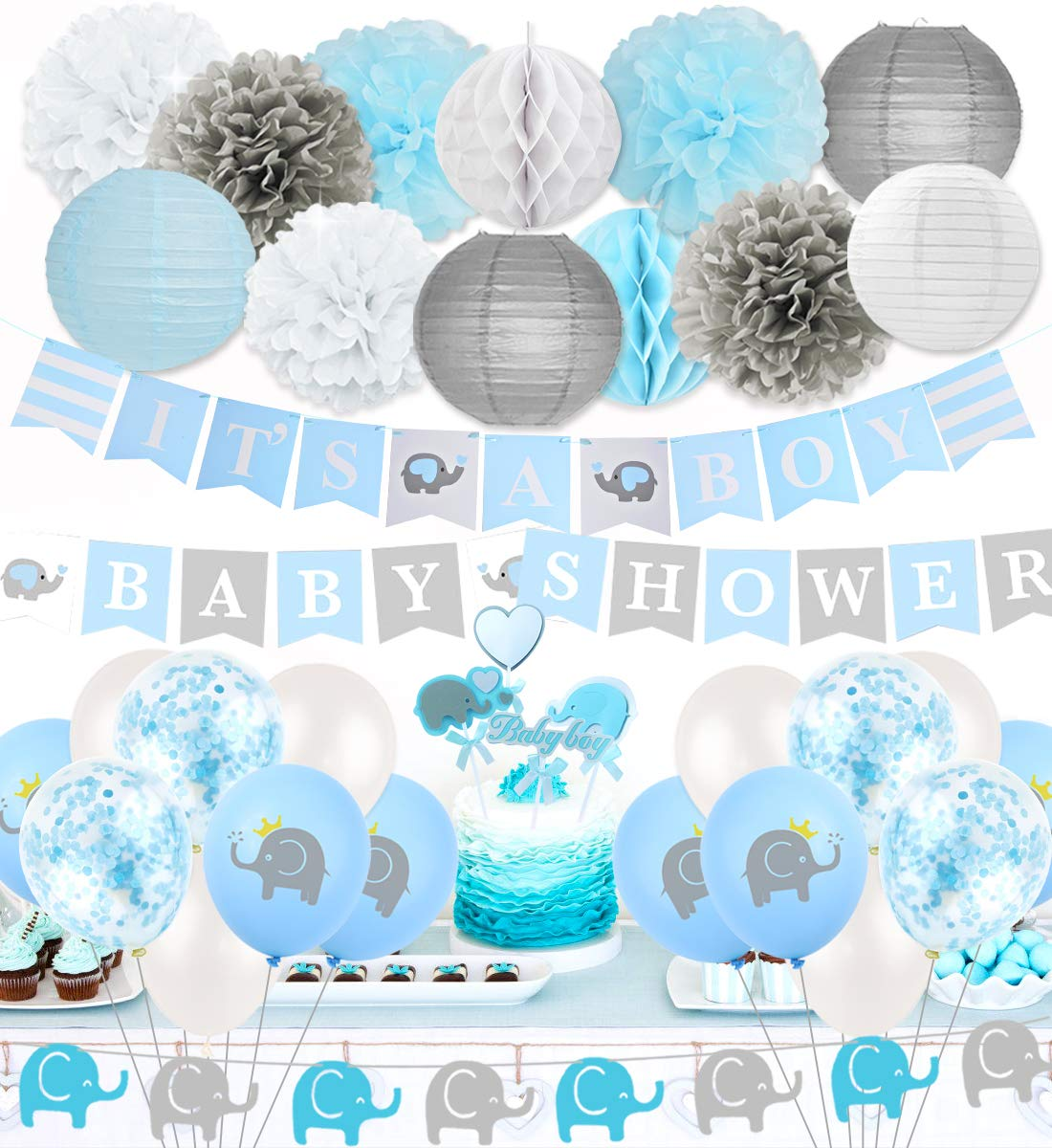 Elephant Baby Shower Decorations Little Peanut Baby Shower Party Supplies Blue with IT' s A Boy Banner Baby Shower Letter Banner and Cake Toppers