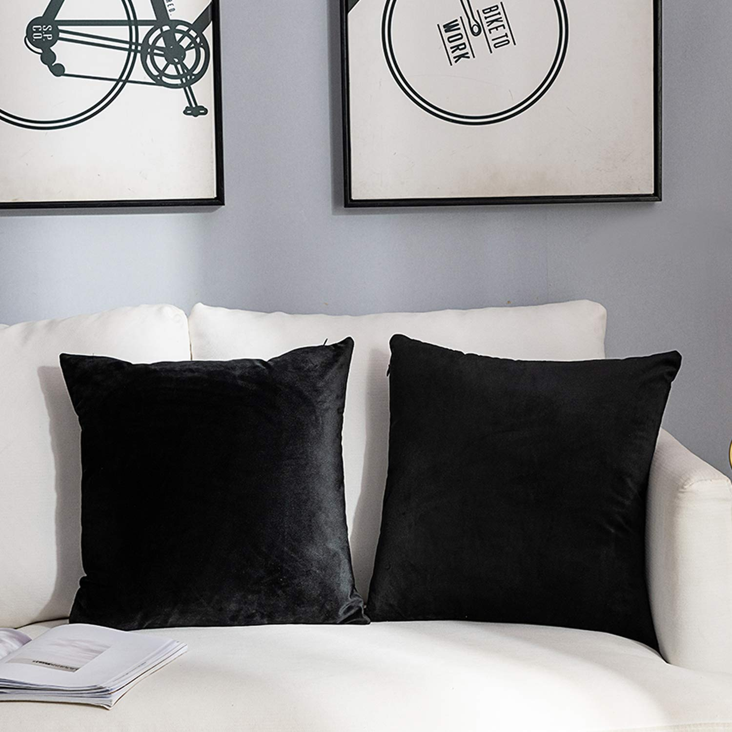 NANPIPER Set of 2 Velvet Soft Decorative Cushion Throw Pillow Covers 20x20 Inch/50x50 cm Cozy Solid Velvet Square Pillowcase Cushion Covers Black for Couch and Bed