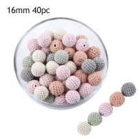 Promise Babe 16mm 40pc Peach Series Wooden Crochet Beads DIY Teething Necklace Bracelet Accessories Baby Handmade Teether Toys