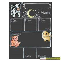 Cohas Monthly Milestone Board for Baby with Farm Theme, Reusable Chalkboard Style Surface, and Liquid Chalk Marker, 12 by 16 Inches, White Marker